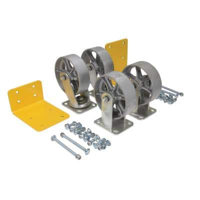 6 in. x 2 in. Semi Steel Caster Kit - Set of 4 - 4,800 lb. Capacity