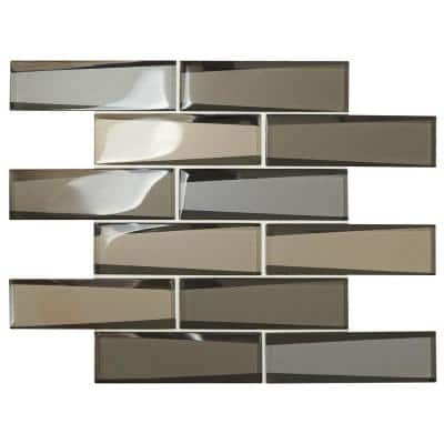 Premier Accents Frost Linear 12 in. x 13 in. x 8 mm Glass Mosaic Wall Tile (0.96 sq. ft./Each)