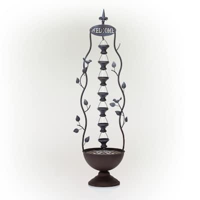 41 in. Tall Indoor/Outdoor Metal Hanging 7-Cup Tiered Floor Water Fountain, Bronze