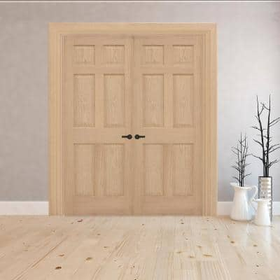 60 in. x 80 in. Universal 6-Panel Solid Unfinished Red Oak Wood Double Prehung Interior French Door with Nickel Hinges
