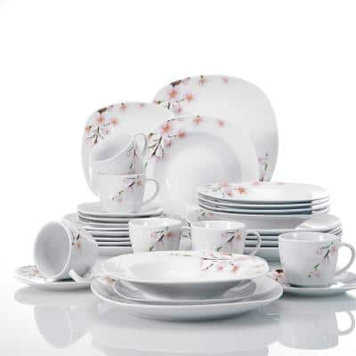 Annie 30-Piece Casual Printed White Porcelain Dinnerware Set (Service for 6)