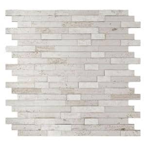 Himalayan White 11.77 in. x 11.57 in. x 8 mm Stone Self-Adhesive Wall Mosaic Tile (11.4 sq. ft./ case)