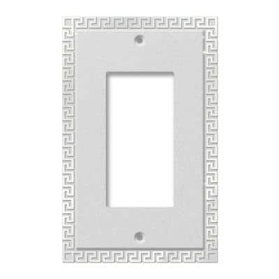 Greek Key 1 Gang Rocker Metal Wall Plate - Frosted Chrome