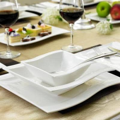 Flora 26-Piece Casual Ivory White Porcelain Dinnerware Set (Service for 6)