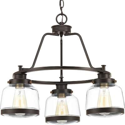 Judson Collection 3-Light Antique Bronze Clear Glass Farmhouse Chandelier Light