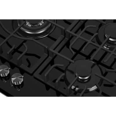 30 in. Gas-on-Glass Gas Cooktop in Black with 5 Burners including Power Burners