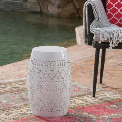 Ruby White Round Metal Outdoor Side Table
