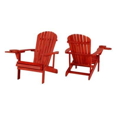 Classic Red Wood Adirondack Chair (2-Pack)