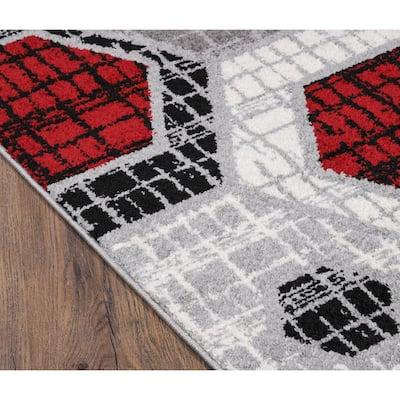 Amoura Red Geometric 2 ft. x 6 ft. Runner Area Rug