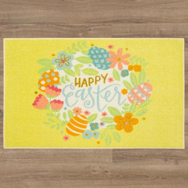 Mohawk Home Easter Wreath Multi 3 Ft X 4 Ft Yellow Theme Area Rug 147035 The Home Depot