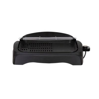 204 sq in. Black Non-Stick Smoke-Less Electric Indoor Grill with Large Cooking Surface