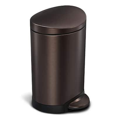 6-Liter Dark Bronze Stainless Steel Semi-Round Step-On Trash Can