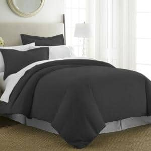 Performance Black Twin 3-Piece Duvet Cover Set