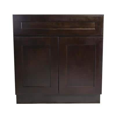 Brookings Plywood Ready to Assemble Shaker 48x34.5x24 in. 2-Door Sink Base Kitchen Cabinet in Espresso