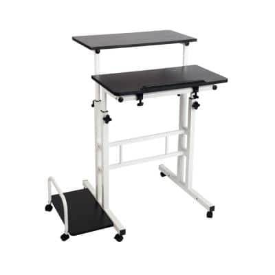28 in. Rectangular Black/White Standing Desk with Adjustable Height Feature