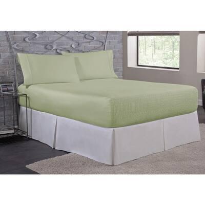 Bed Tite Microfiber 4-Piece Sage Solid 200 Thread Count Microfiber King Sheet Set