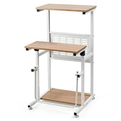 21 in. Oak Height Adjustable Stand Up Desk Computer Workstation