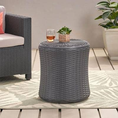 Mikael Dark Grey Round Faux Wicker 21 in. Outdoor Side Table