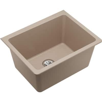Quartz Classic Putty Quartz 25 in. Single Bowl Undermount Laundry Sink with Perfect Drain