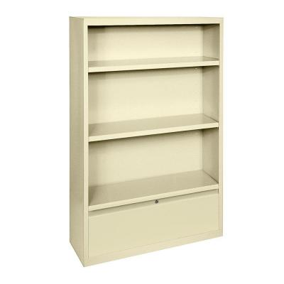 52 in. Putty Metal 3-shelf Standard Bookcase with Adjustable Shelves