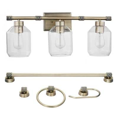 Middleton 24 in. 3-Light Brass Vanity Light with Clear Glass Shades and Bath Set Bulbs Included (5-Piece)