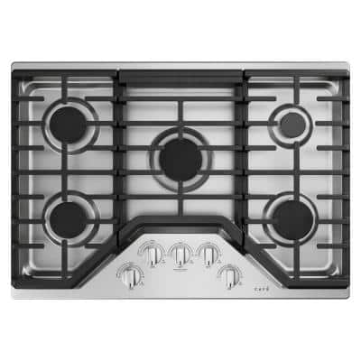 30 in. Gas Cooktop in Stainless Steel and Brushed Stainless with 5 Burners and an 18,000 BTU Burner