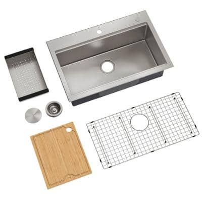 Kore Workstation Dual Mount Stainless Steel 32 in. Single Bowl Kitchen Sink with Accessories