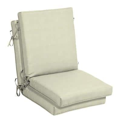 CushionGuard Oatmeal Outdoor High Back Dining Chair Cushion (2-Pack)