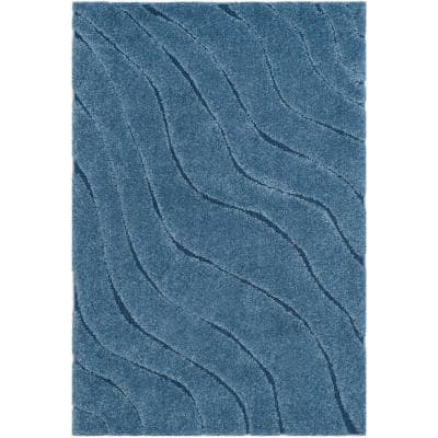 Florida Shag Light Blue/Blue 3 ft. 3 in. x 5 ft. 3 in. Area Rug