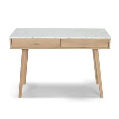Viola 44 in. Rectangular Carrara White Wood 2-Drawer Writing Desk with Oak Legs and Marble Top