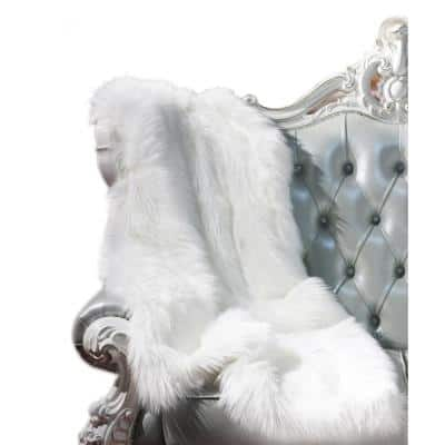 """50 in. x 60 in. """"Luxury Decorative"""" Faux Fur Throw in White"""