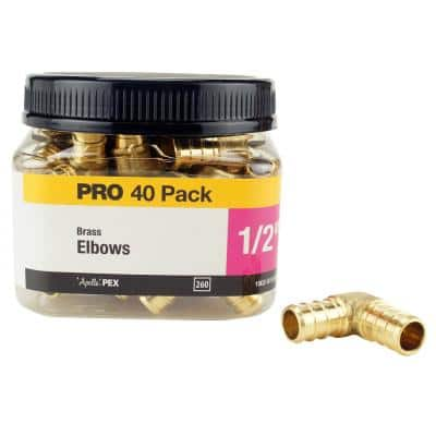 1/2 in. Brass PEX Barb 90-Degree Elbow Pro Pack (40-Pack)