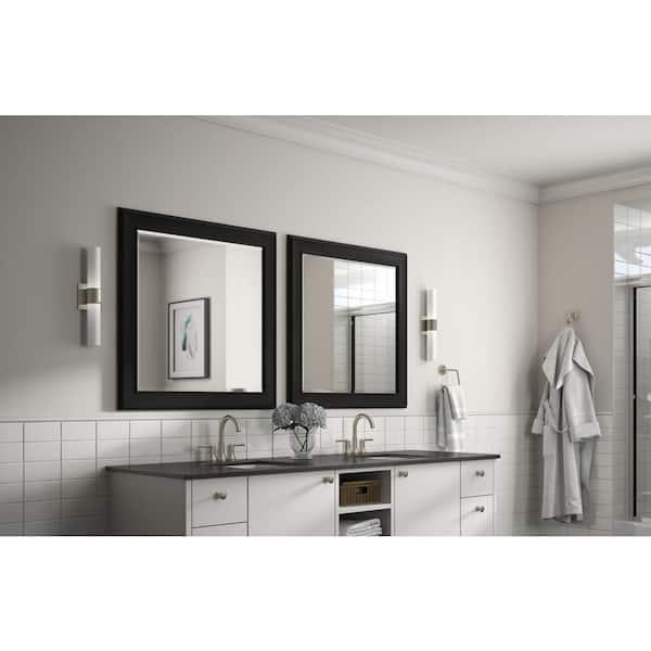 Delta 33 In W X 33 In H L2 Framed Square Deluxe Glass Bathroom Vanity Mirror In Matte Black Fmirl2 Bdh R The Home Depot