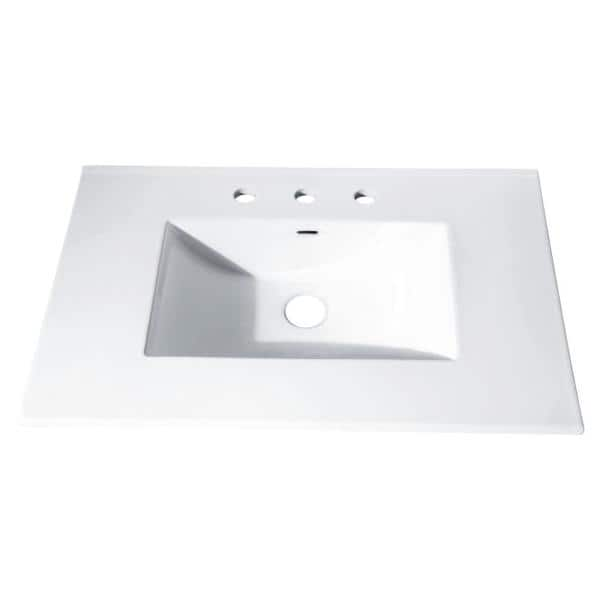 Avanity 31 In X 22 In Vitreous China Vanity Top With Rectangular Bowl In White Cut31wt The Home Depot