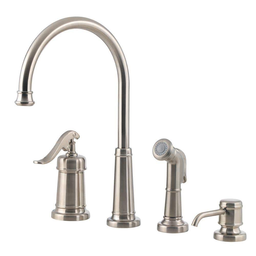 Pfister Ashfield Single Handle Standard Kitchen Faucet With Side Sprayer And Soap Dispenser In Brushed Nickel Lg26 4ypk The Home Depot