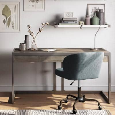 Erina 60 in. Rectangular Distressed Gray/Black 2 Drawer Writing Desk with Keyboard Tray