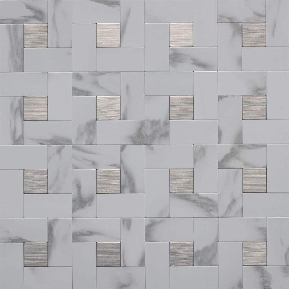 instant mosaic 12 in x 12 in peel and stick faux white marble and brushed stainless metal wall tile ekb 03 108 the home depot