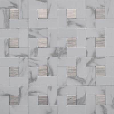 12 in. x 12 in. Peel and Stick Faux White Marble and Brushed Stainless Metal Wall Tile