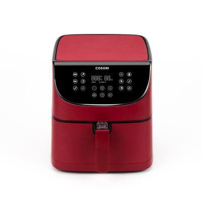 Premium 5.8 Qt. Red Air Fryer with Skewer Rack Set