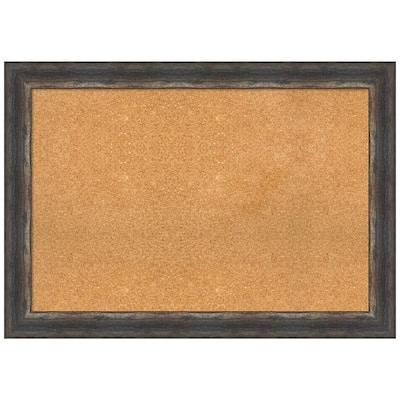 Bark Rustic Char 41.12 in. x 29.12 in Framed Corkboard Memo Board