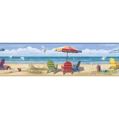 Lori Blue Summer Beach Portrait Blue Wallpaper Border