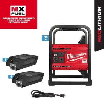 MX FUEL 3600-Watt/1800-Watt Lithium-Ion Battery Powered Push Start Portable Power Station Generator W/ 2 Batteries
