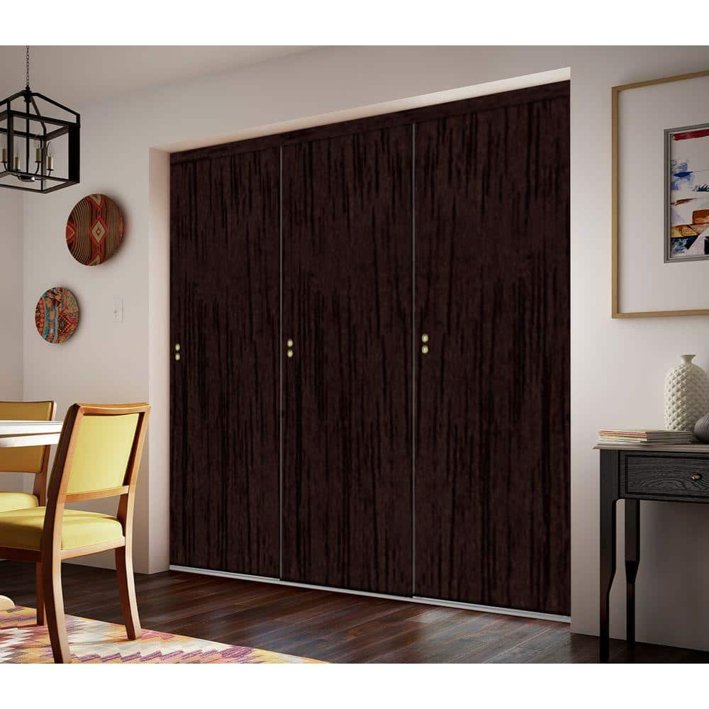 Impact Plus 96 In X 80 In Smooth Flush Solid Core Espresso Mdf Interior Closet Sliding Door With Matching Trim Sfe343 9680m The Home Depot