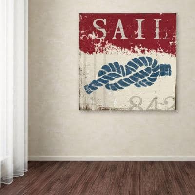 """24 in. x 24 in. """"Nautical III Red"""" by Wellington Studio Printed Canvas Wall Art"""