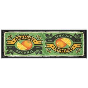 Siesta Kitchen Collection Modern Oranges Green 1 ft. 8 in. x 4 ft. 11 in. Kitchen Runner Rug