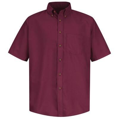 Men's Size L Burgundy Poplin Dress Shirt