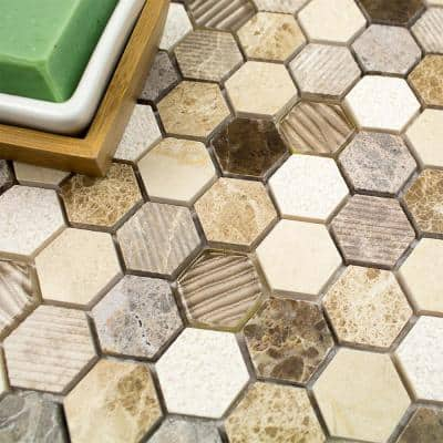 Drumlin Win Drift Hexagon 11.25 in. x 10.87 in. Honed Marble and Glass Mosaic Tile