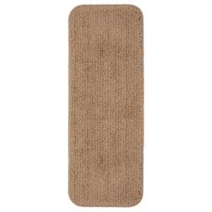 Luxury Collection Camel 9 in. x 26 in. Rubber Back Plush Stair Tread (Set of 5)