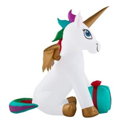 5 ft. Pre-Let LED Inflatable Unicorn