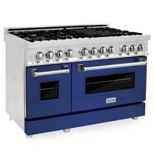 ZLINE 48'' 6.0 cu. ft. Dual Fuel Range with Gas Stove and Electric Oven in Stainless Steel and Blue Matte Door (RA-BM-48)